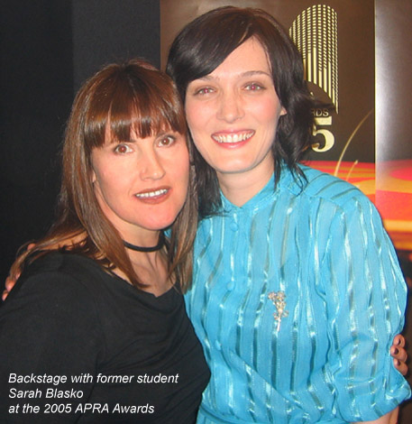 Backstage with Sarah at the APRA awards 2005